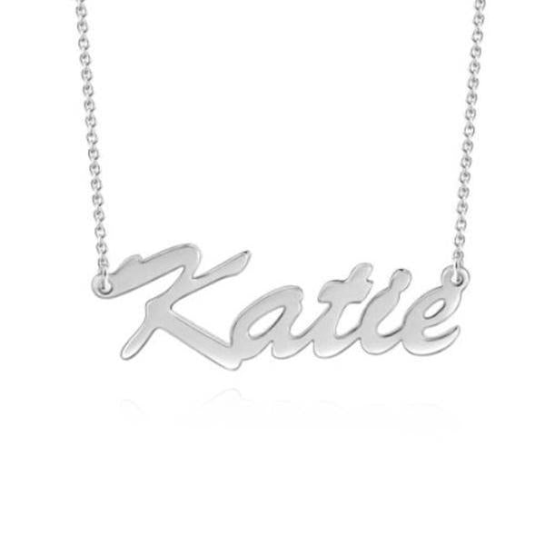 """Katie"" Style Adjustable Chain Copper/925 Sterling Silver Personalized Name Necklace"