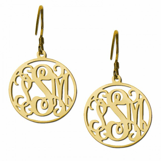925 Sterling Silver Personalized Customized Initials Monogram Earrings