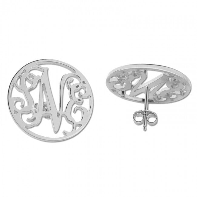 925 Sterling Silver Personalized Block Monogram Stud Earrings