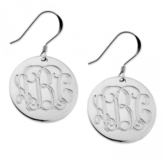 925 Sterling Silver Personalized Engraved Monogram Earrings