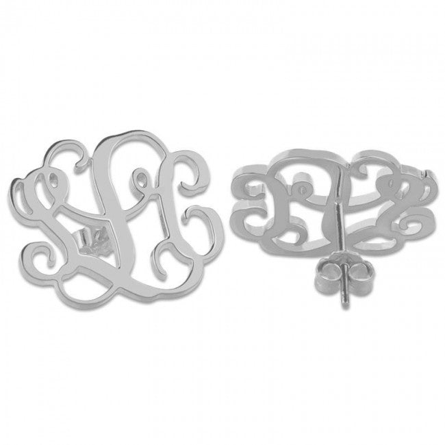925 Sterling Silver Personalized Initial Monogram Studs Earrings