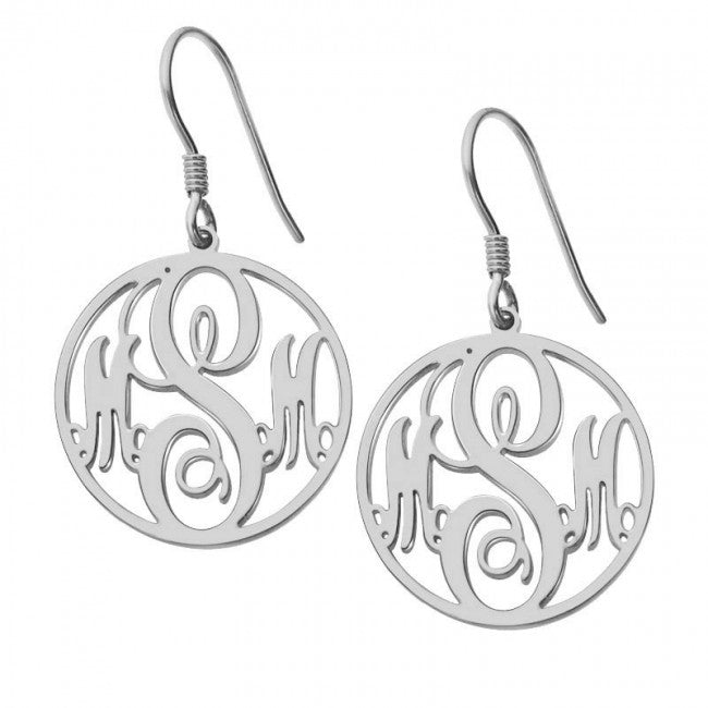 0ee0accc8 925 Sterling Silver Personalized Customized Circle Initials Monogram  Earrings