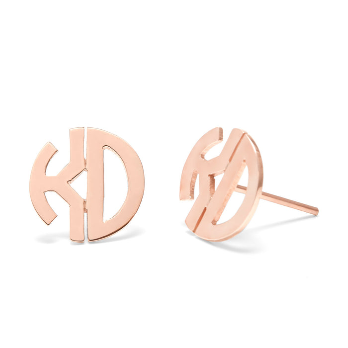 925 Sterling Silver Personalized Two Initial Block Monogram Earrings