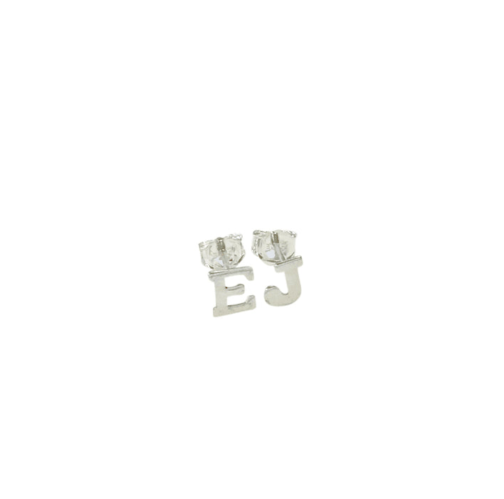 925 Sterling Silver Personalized Initial Pair Stud Earrings