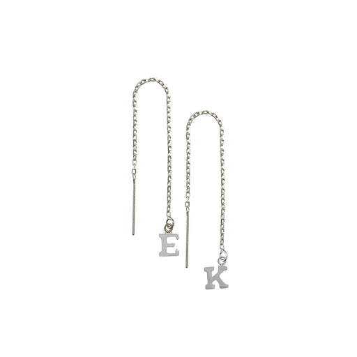 925 Sterling Silver Personalized Alphabet City Thread Earring