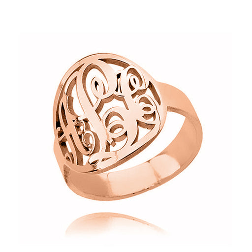 Copper/925 Sterling Silver Personalized Circle Initials Monogram Ring