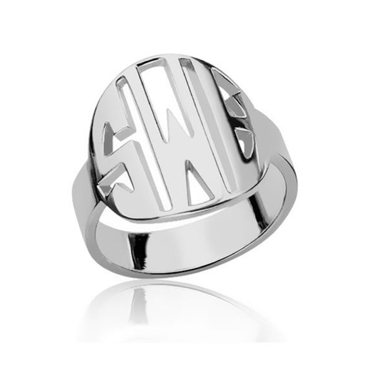 925 Sterling Silver Personalized Block Initials Monogram Ring