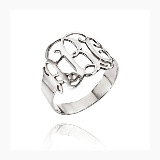 925 Sterling Silver Personalized Cut Out Ring with Monogram