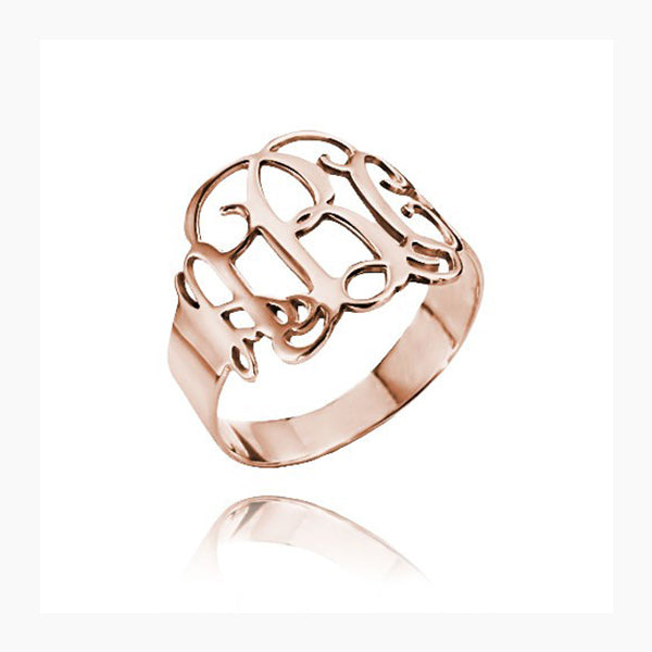 Copper/925 Sterling Silver Personalized Cut Out Ring with Monogram
