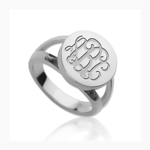 925 Sterling Silver Personalized Engraved Monogram Ring