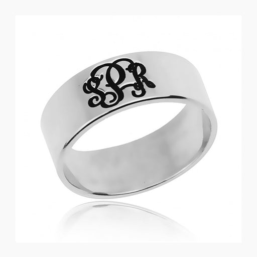 925 Sterling Silver Personalized  Three Initials Monogram Ring