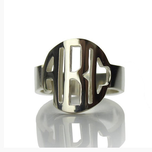 Copper/925 Sterling Silver Personalized Block Initials Monogram Ring