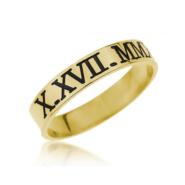 925 Sterling Silver Personalized Engraved Roman Number Ring