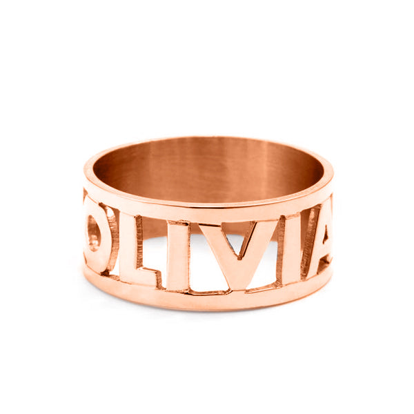 Copper/925 Sterling Silver Personalized Cut Out Name Ring