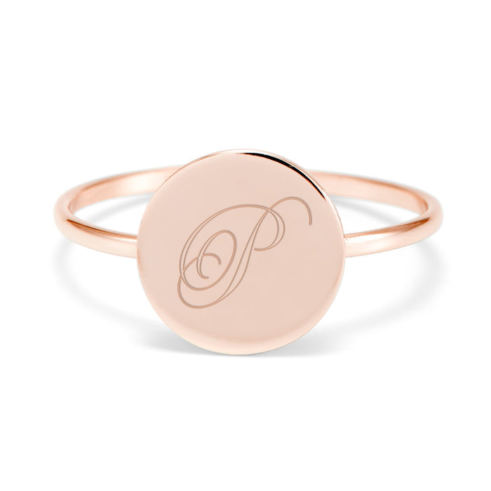 10K/14K Gold Personalized Engravable Initial Round Ring