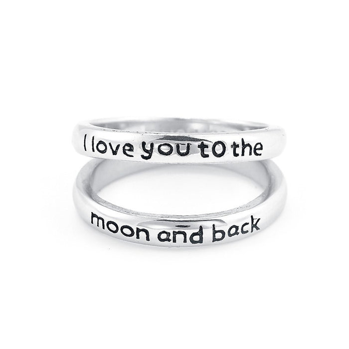 I Love You To The Moon and Back -Copper/925 Sterling Silver Personalized Double Band Engraved Ring