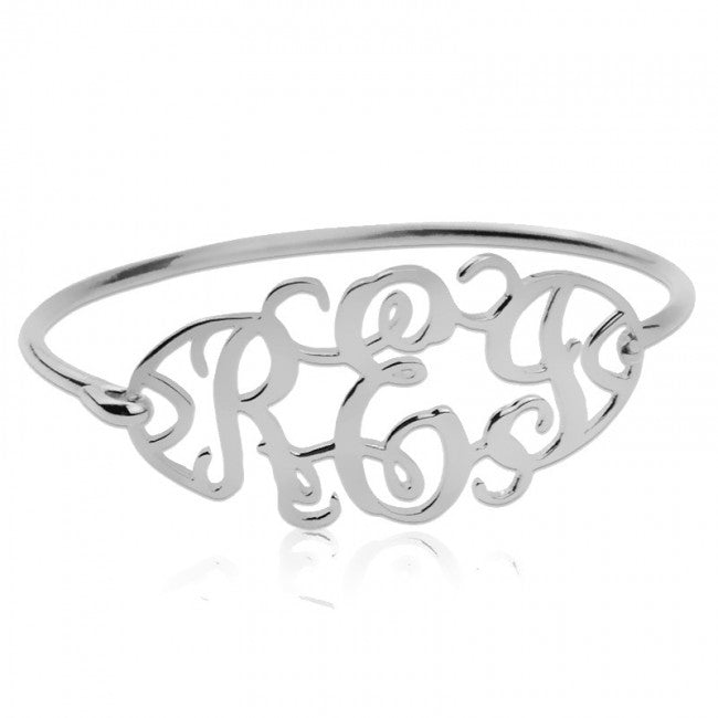 925 Sterling Silver Personalized Cut Out Bangle with Monogram