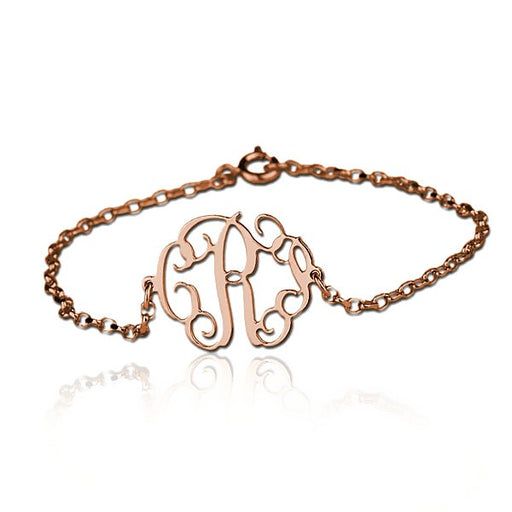 "925 Sterling Silver Personalized Cut Out Bracelet with Monogram Adjustable 6""-7.5"""