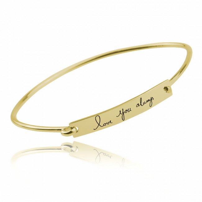 925 Sterling Silver Personalized Handwriting Bar Bangle