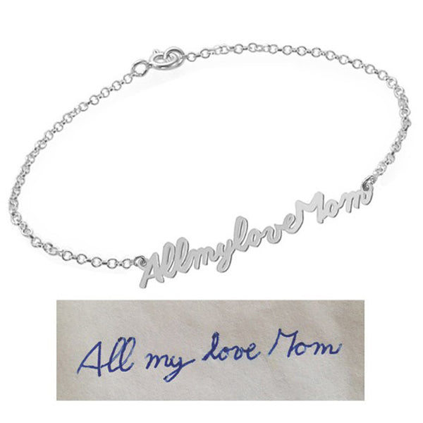 "925 Sterling Silver Personalized Signature Bracelet Length Adjustable 6""-7.5"""