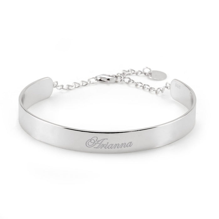 925 Sterling Silver Personalized Engravable Adjustable  Cuff
