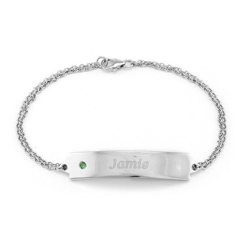 "925 Sterling Silver Personalized Birthstone ID Bracelet Length Adjustable 6""-7.5"""