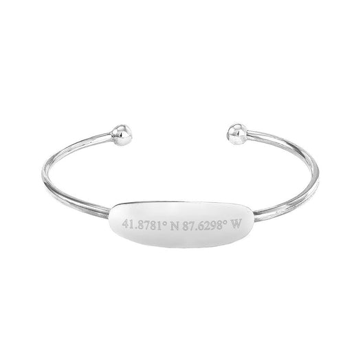 925 Sterling Silver Personalized Coordinate Baby ID Cuff Bracelet