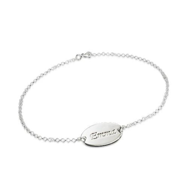 "925 Sterling Silver Personalized Baby Name Bracelet Adjustable 6""-7.5"""