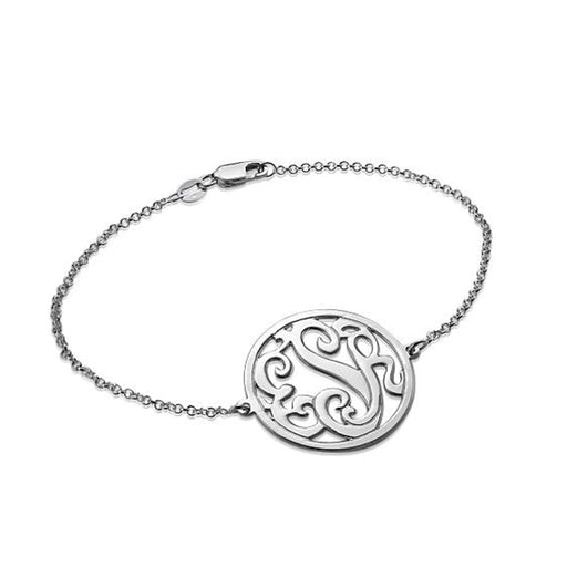 "925 Sterling Silver Personalized  Circle Monogram Bracelet Length Adjustable 6""-7.5"""