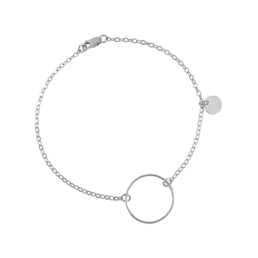 "925 Sterling Silver Personalized Open Ring on Chain Bracelet Adjustable 6""-7.5"""