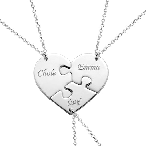 "Copper/925 Sterling Silver Personalized 3 Pieces Puzzle Engraved Necklace For a Heart Adjustable 16""-20"""
