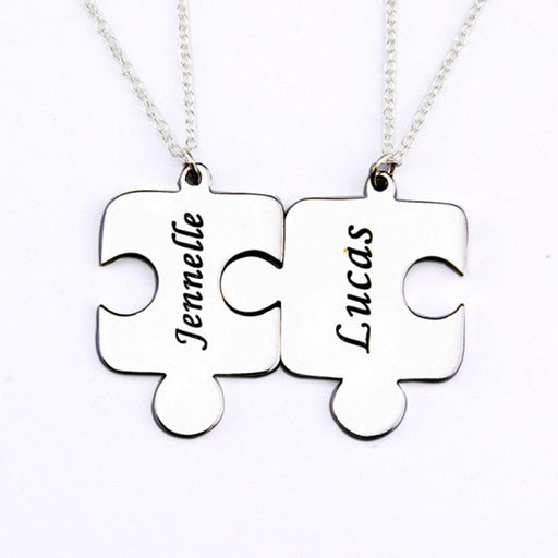 "Copper/925 Sterling Silver Personalized 2 Pieces Puzzle Engraved Necklace Adjustable 16""-20"