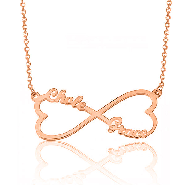 "925 Sterling Silver Personalized Customized Infinity Heart Pendant Necklace Adjustable 16""-20"""