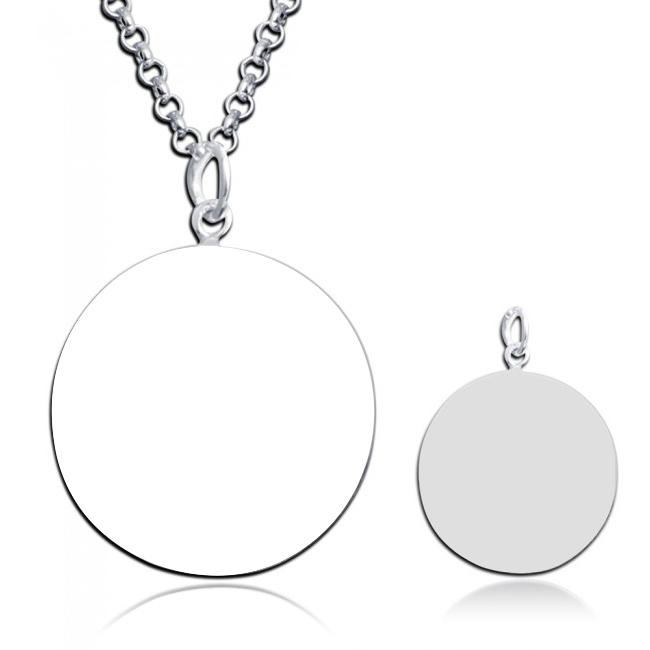 "925 Sterling Silver  Personalized Circle Engraved Photo Necklace Adjustable 16""-20"""
