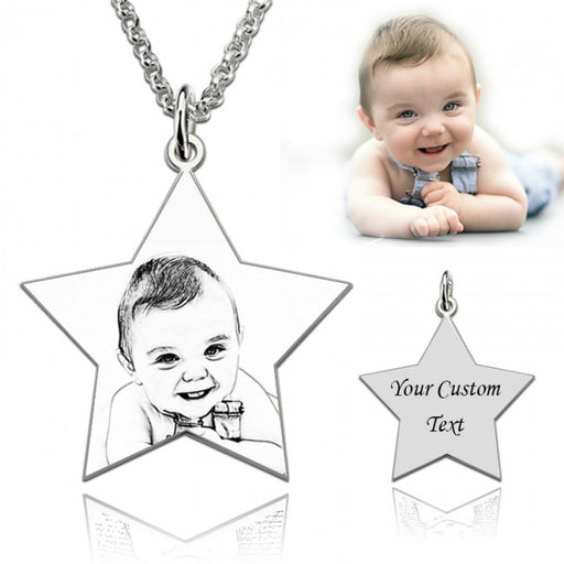 "925 Sterling Silver  Personalized Pentagram Engraved Photo Necklace Adjustable 16""-20"""