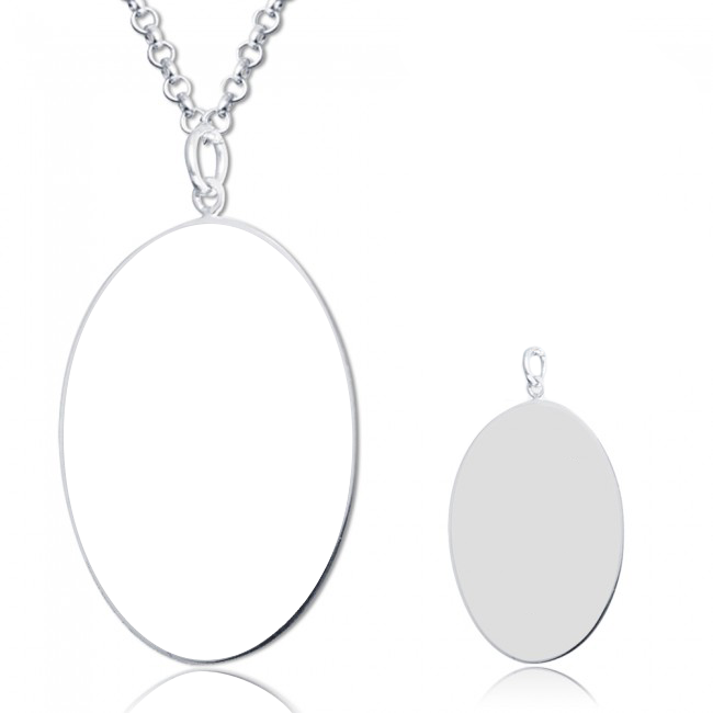 "925 Sterling Silver  Personalized Oval Engraved Photo Necklace Adjustable 16""-20"""