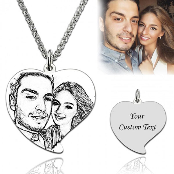 "925 Sterling Silver  Personalized Heart Engraved Photo Necklace for Mother Adjustable 16""-20"""