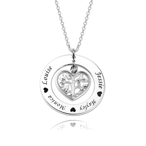 925 Sterling Silver Personalized Family Tree Necklace With Heart For Mothers Adjustable 16