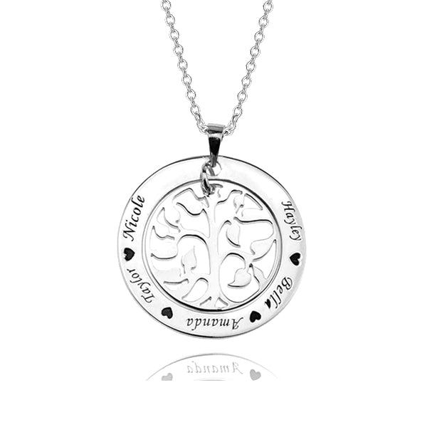 925 Sterling Silver Personalized Family Tree Necklace With Any Name Engraved Adjustable 16