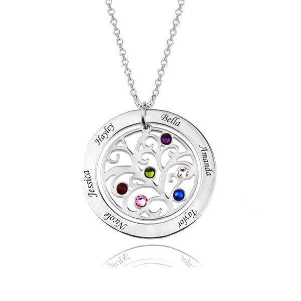 925 Sterling Silver Personalized Circle Engraved Family Tree Necklace with Birthstones Adjustable 16