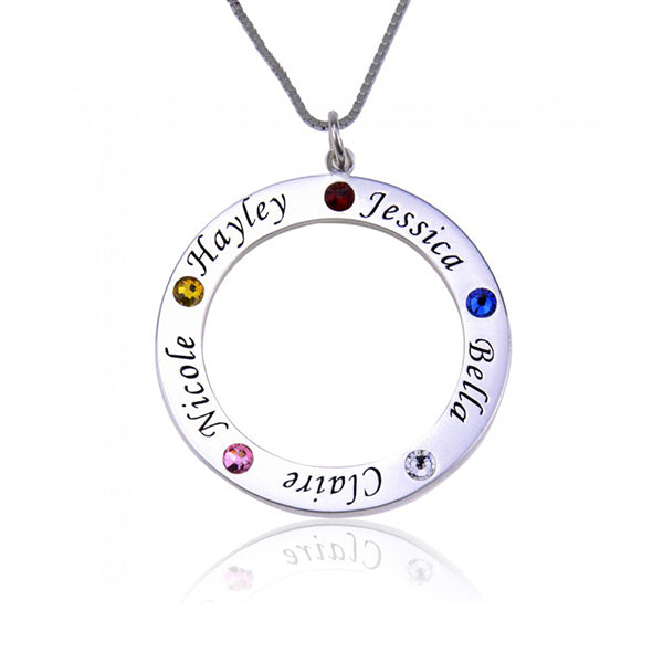 "925 Sterling Silver Personalized Engraved Birthstone Necklace For Her Adjustable 16""-20"""