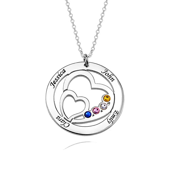 "925 Sterling Silver Personalized Heart in Heart Family Engraved Necklace With Birthstone Adjustable 16""-20"""