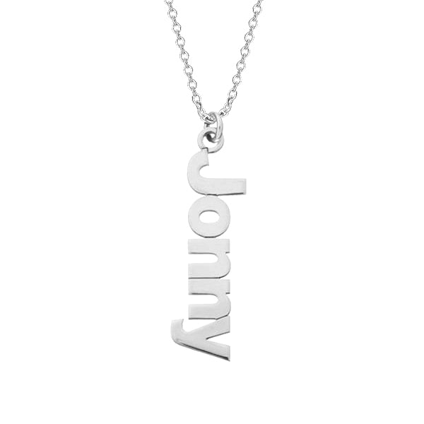 "925 Sterling Silver Personalized Sidelong Nameplate Necklaces Adjustable 16""-20"""