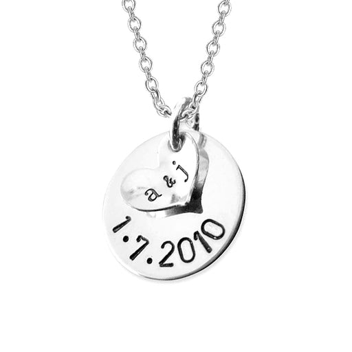 "925 Sterling Silver Personalized A Date to Remember Charm Necklace Adjustable 16""-20"""