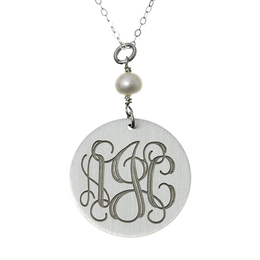 "925 Sterling Silver Personalized Round Pearl Engraved Necklace Adjustable 16""-20"""