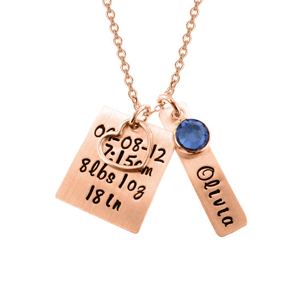 "Copper/925 Sterling Silver Personalized Bar Engraved Necklace With A Heart Charm Adjustable 16""-20"""