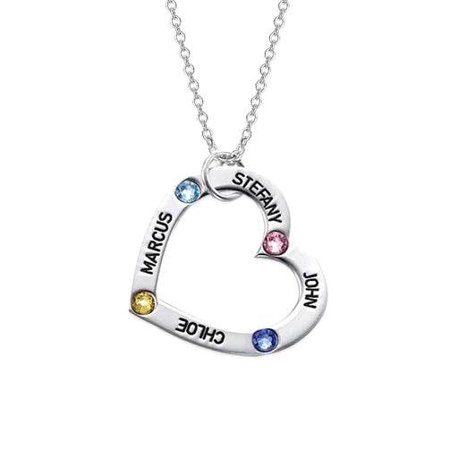 "925 Sterling Silver Personalized Birthstone Heart Necklace Adjustable 16""-20"""