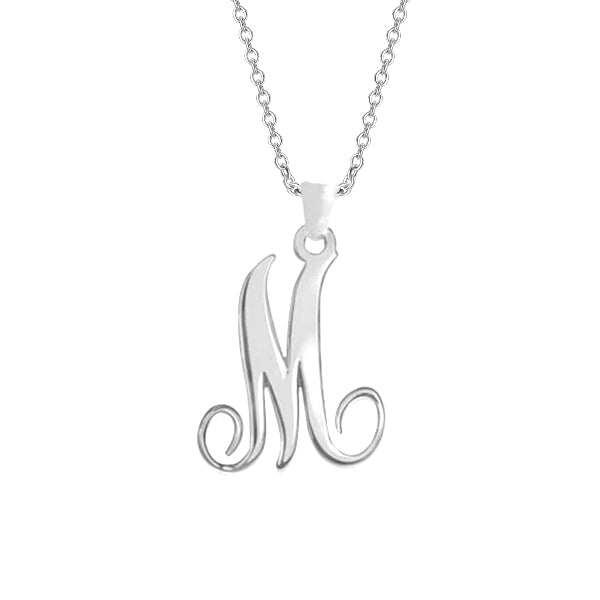 "925 Sterling Silver Personalized Single Initial Necklace Adjustable 16""-20"""