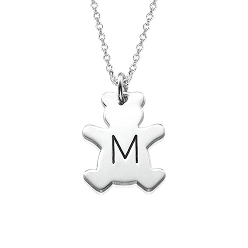 "925 Sterling Silver Personalized Teddy Bear Necklace with Initial Adjustable 16""-20"""