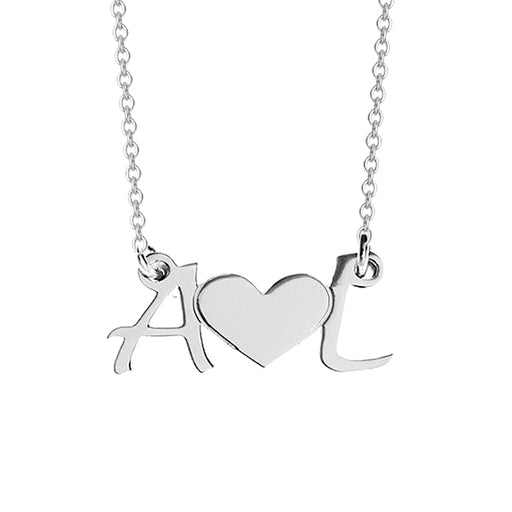 "925 Sterling Silver Personalized Initial Heart Necklace Adjustable 16""-20"""